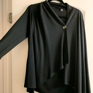 Black Draped Button Front Cardigan NWT size M